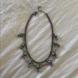 silver chocker with teal/baby blue detail